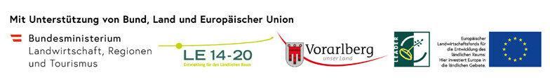 Bei der Durchführung dieses LEADER-Projekts werden wir unterstützt durch: Bund, Land Vorarlberg und Europäischer Union (LEADER)